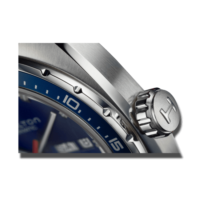 Herrenuhr Hamilton Pan Europ Day Date Automatik 42mm mit blauem Zifferblatt und Kalbsleder-Armband bei Brogle