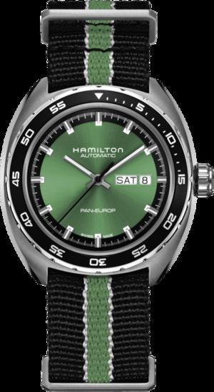 Herrenuhr Hamilton Pan Europ Day Date Automatik 42mm mit grünem Zifferblatt und Kalbsleder-Armband