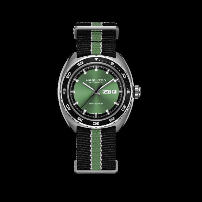 Herrenuhr Hamilton Pan Europ Day Date Automatik 42mm mit grünem Zifferblatt und Kalbsleder-Armband bei Brogle