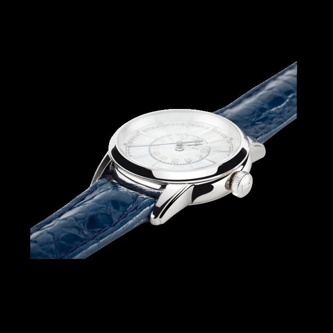 Damenuhr Hamilton RailRoad Lady Quarz 28mm mit Diamanten, perlmuttfarbenem Zifferblatt und Armband aus Kalbsleder mit Krokodilprägung bei Brogle