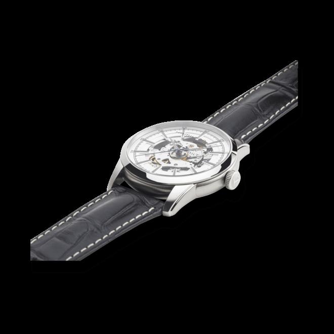 Herrenuhr Hamilton RailRoad Skeleton Automatik 42mm mit silberfarbenem/schwarzem Zifferblatt und Armband aus Kalbsleder mit Krokodilprägung bei Brogle