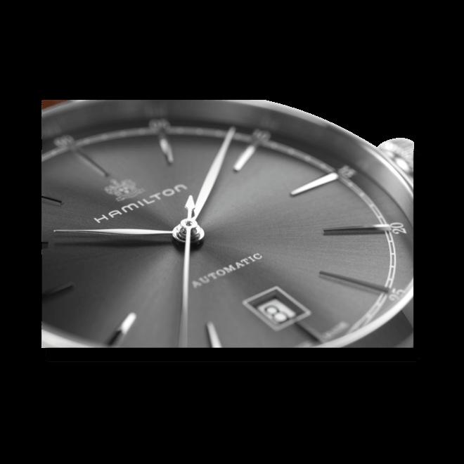 Herrenuhr Hamilton Spirit of Liberty Automatik 42mm mit anthrazitfarbenem Zifferblatt und Kalbsleder-Armband bei Brogle