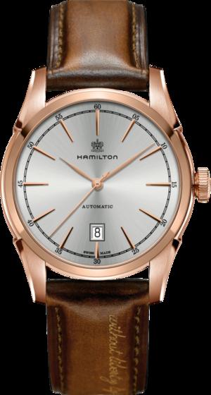 Herrenuhr Hamilton Spirit of Liberty Automatik 42mm mit silberfarbenem Zifferblatt und Kalbsleder-Armband
