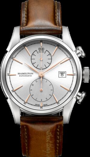 Herrenuhr Hamilton Spirit of Liberty Automatik Chronograph 42mm mit silberfarbenem Zifferblatt und Kalbsleder-Armband