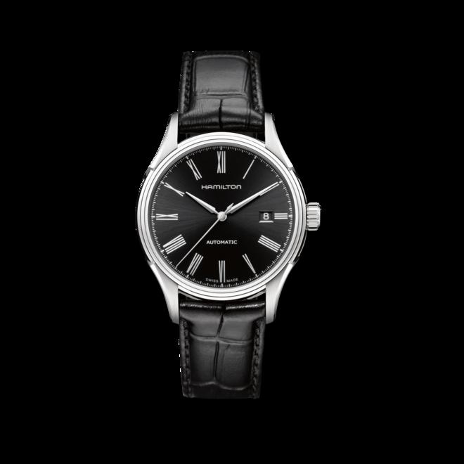Herrenuhr Hamilton Valiant Automatik 40mm mit schwarzem Zifferblatt und Armband aus Kalbsleder mit Krokodilprägung bei Brogle