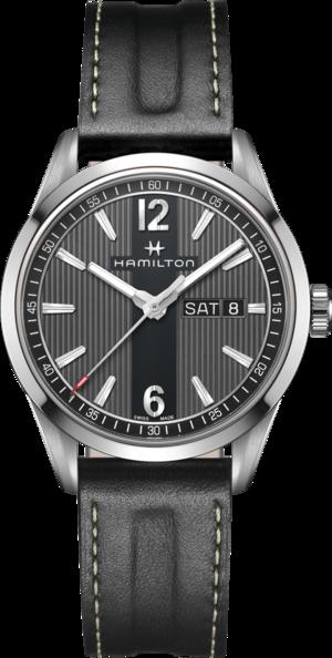 Herrenuhr Hamilton Broadway Automatik Day/Date 40mm mit grauem Zifferblatt und Kalbsleder-Armband