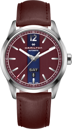 Herrenuhr Hamilton Broadway Automatik Day/Date 42mm mit blauem Zifferblatt und Kalbsleder-Armband