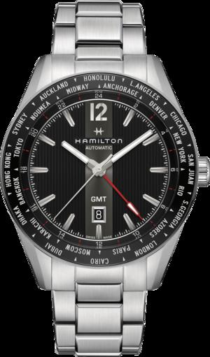 Herrenuhr Hamilton Broadway Automatik GMT 46mm mit schwarzem Zifferblatt und Edelstahlarmband