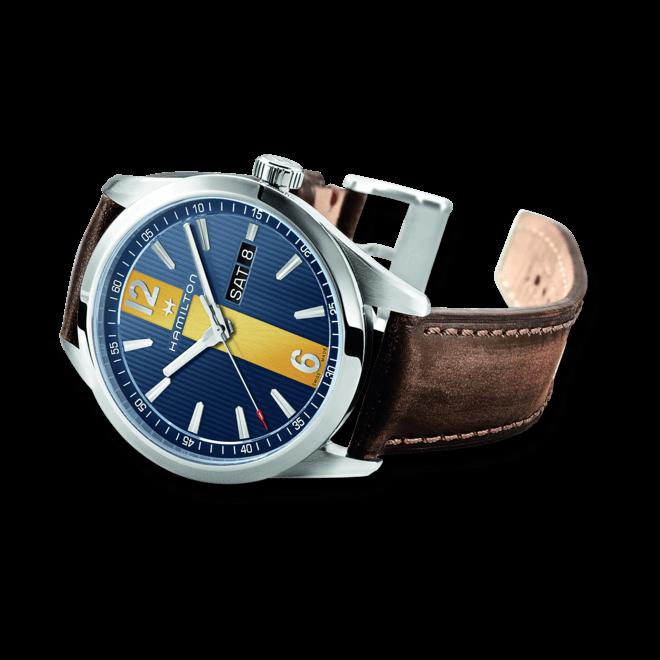 Herrenuhr Hamilton Broadway Day/Date Quarz 40mm mit blauem Zifferblatt und Kalbsleder-Armband bei Brogle