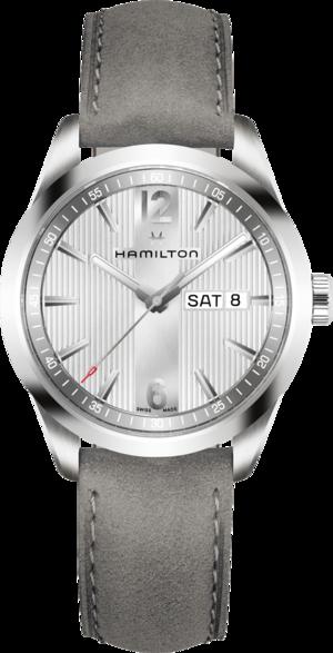 Herrenuhr Hamilton Broadway Day/Date Quarz 40mm mit weißem Zifferblatt und Kalbsleder-Armband