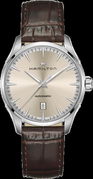Herrenuhr Hamilton Jazzmaster Auto 40mm mit beigefarbenem Zifferblatt und Armband aus Kalbsleder mit Krokodilprägung