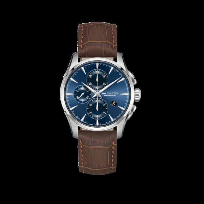 Herrenuhr Hamilton Jazzmaster Auto Chrono 42mm mit blauem Zifferblatt und Armband aus Kalbsleder mit Krokodilprägung bei Brogle