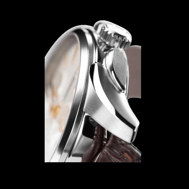Herrenuhr Hamilton Jazzmaster Auto Chrono 42mm mit silberfarbenem Zifferblatt und Kalbsleder-Armband bei Brogle