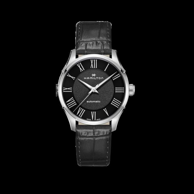 Herrenuhr Hamilton Jazzmaster Automatik 40mm mit schwarzem Zifferblatt und Kalbsleder-Armband bei Brogle