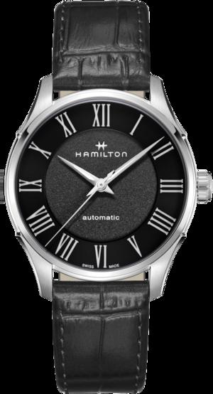 Herrenuhr Hamilton Jazzmaster Automatik 40mm mit schwarzem Zifferblatt und Kalbsleder-Armband