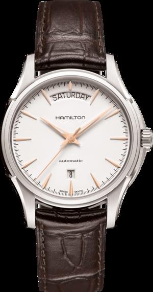 Herrenuhr Hamilton Jazzmaster Day/Date Automatik 40mm mit weißem Zifferblatt und Armband aus Kalbsleder mit Krokodilprägung