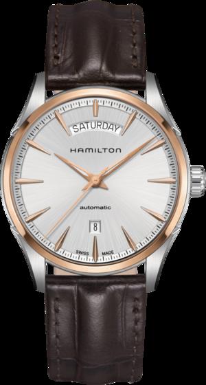 Herrenuhr Hamilton Jazzmaster Day/Date Automatik 42mm mit silberfarbenem Zifferblatt und Kalbsleder-Armband