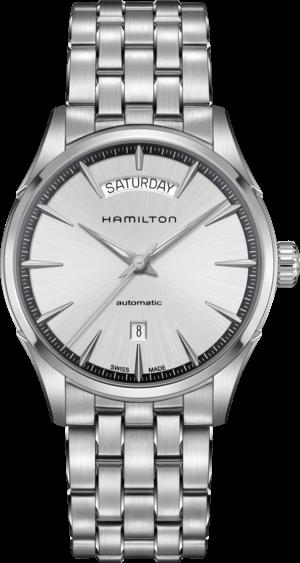 Herrenuhr Hamilton Jazzmaster Day/Date Automatik 42mm mit silberfarbenem Zifferblatt und Edelstahlarmband