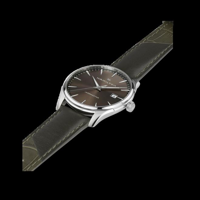 Herrenuhr Hamilton Jazzmaster Gent Quartz 40mm mit braunem Zifferblatt und Kalbsleder-Armband bei Brogle
