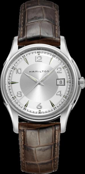 Armbanduhr Hamilton Jazzmaster Gent Quarz 38mm mit silberfarbenem Zifferblatt und Armband aus Kalbsleder mit Krokodilprägung