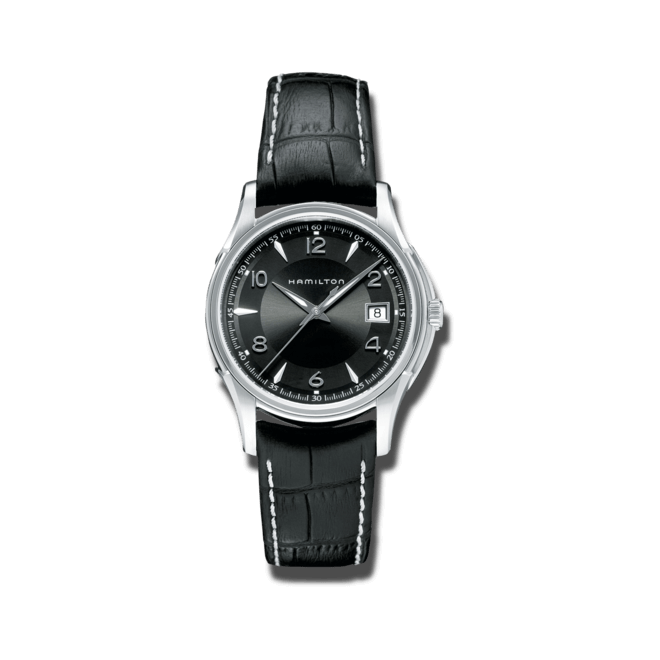 Armbanduhr Hamilton Jazzmaster Gent Quarz 38mm mit schwarzem Zifferblatt und Armband aus Kalbsleder mit Krokodilprägung bei Brogle