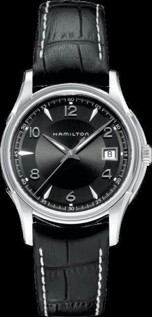Armbanduhr Hamilton Jazzmaster Gent Quarz 38mm mit schwarzem Zifferblatt und Armband aus Kalbsleder mit Krokodilprägung