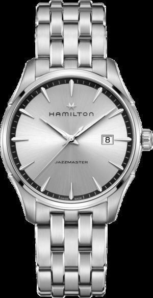 Herrenuhr Hamilton Jazzmaster Gent Quarz 40mm mit silberfarbenem/schwarzem Zifferblatt und Edelstahlarmband