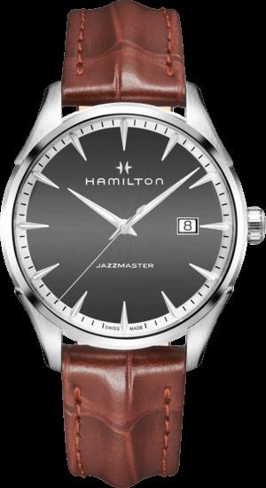 Herrenuhr Hamilton Jazzmaster Gent Quarz 40mm mit grauem Zifferblatt und Armband aus Kalbsleder mit Krokodilprägung