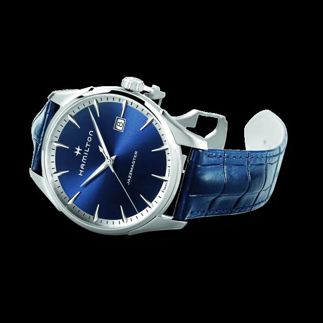 Herrenuhr Hamilton Jazzmaster Gent Quarz 40mm mit blauem Zifferblatt und Armband aus Kalbsleder mit Krokodilprägung bei Brogle