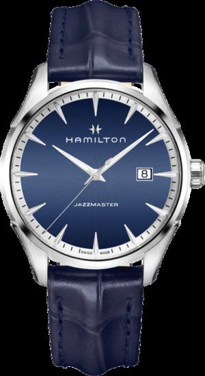 Herrenuhr Hamilton Jazzmaster Gent Quarz 40mm mit blauem Zifferblatt und Armband aus Kalbsleder mit Krokodilprägung