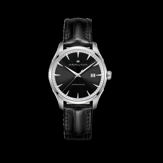 Herrenuhr Hamilton Jazzmaster Gent Quarz 40mm mit silberfarbenem/schwarzem Zifferblatt und Kalbsleder-Armband bei Brogle