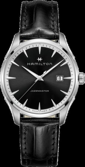 Herrenuhr Hamilton Jazzmaster Gent Quarz 40mm mit silberfarbenem/schwarzem Zifferblatt und Kalbsleder-Armband