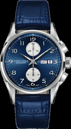 Herrenuhr Hamilton Jazzmaster Maestro Auto Chrono 41mm mit blauem Zifferblatt und Kalbsleder-Armband
