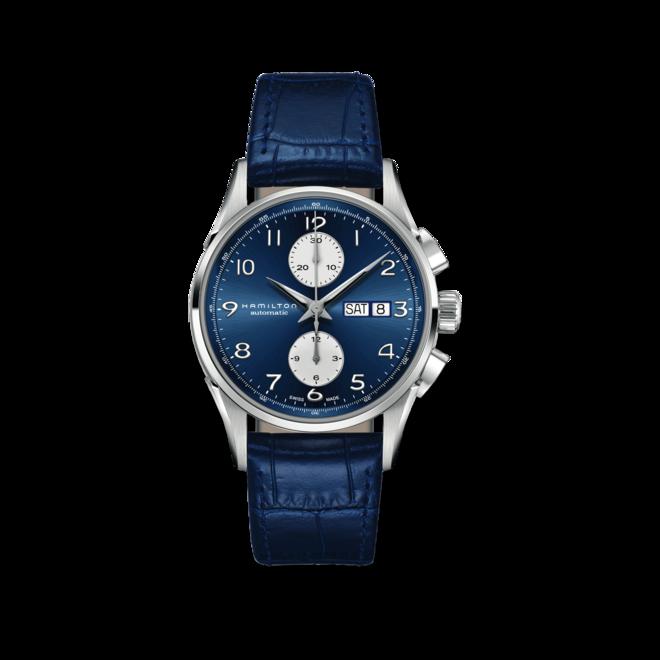 Herrenuhr Hamilton Jazzmaster Maestro Auto Chrono 41mm mit blauem Zifferblatt und Kalbsleder-Armband bei Brogle