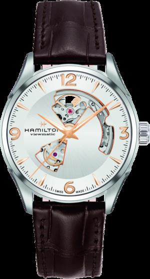 Herrenuhr Hamilton Jazzmaster Open Heart H-10 42mm mit silberfarbenem Zifferblatt und Armband aus Kalbsleder mit Krokodilprägung