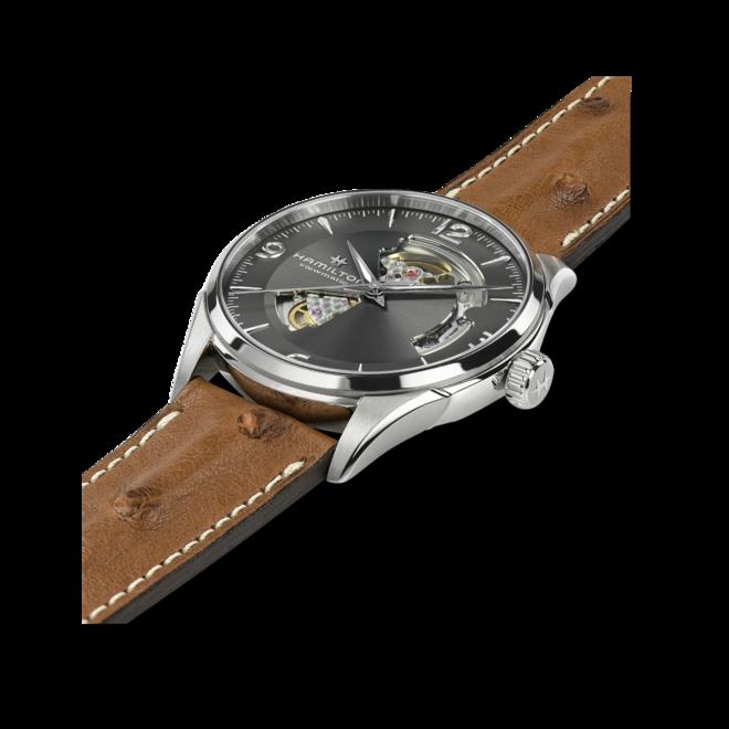 Herrenuhr Hamilton Jazzmaster Open Heart H-10 42mm mit anthrazitfarbenem Zifferblatt und Straußenleder-Armband bei Brogle