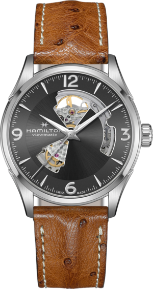 Herrenuhr Hamilton Jazzmaster Open Heart H-10 42mm mit anthrazitfarbenem Zifferblatt und Straußenleder-Armband