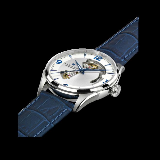 Herrenuhr Hamilton Jazzmaster Open Heart H-10 42mm mit silberfarbenem Zifferblatt und Rindsleder-Armband bei Brogle