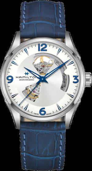 Herrenuhr Hamilton Jazzmaster Open Heart H-10 42mm mit silberfarbenem Zifferblatt und Rindsleder-Armband