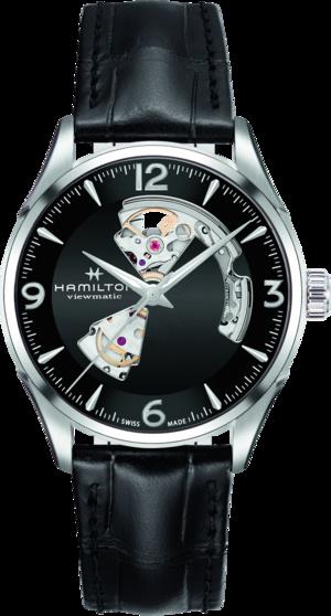 Herrenuhr Hamilton Jazzmaster Open Heart H-10 42mm mit schwarzem Zifferblatt und Armband aus Kalbsleder mit Krokodilprägung