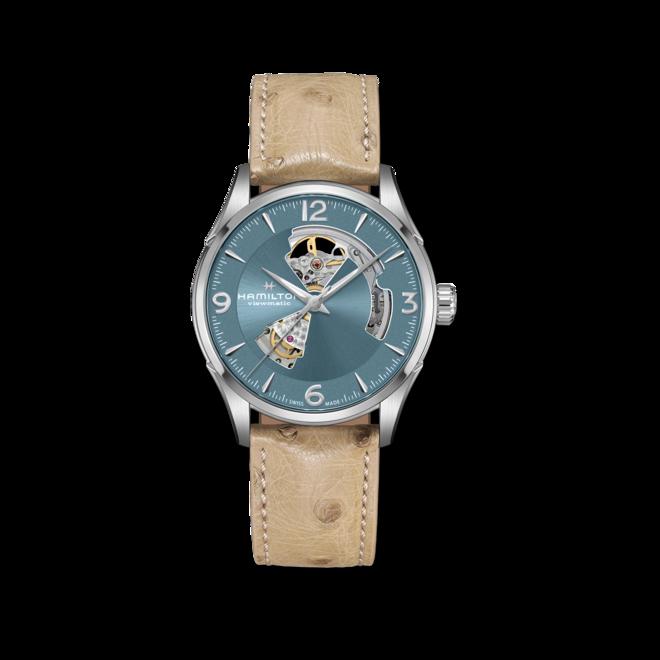 Herrenuhr Hamilton Jazzmaster Open Heart H-10 42mm mit blauem Zifferblatt und Straußenleder-Armband bei Brogle