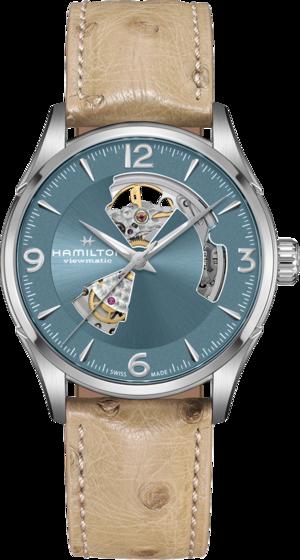 Herrenuhr Hamilton Jazzmaster Open Heart H-10 42mm mit blauem Zifferblatt und Straußenleder-Armband