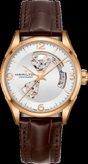 Herrenuhr Hamilton Jazzmaster Open Heart H-10 42mm mit weißem Zifferblatt und Armband aus Kalbsleder mit Krokodilprägung