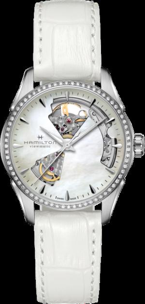 Damenuhr Hamilton Jazzmaster Open Heart Lady Automatic 36mm mit Diamanten, perlmuttfarbenem Zifferblatt und Kalbsleder-Armband