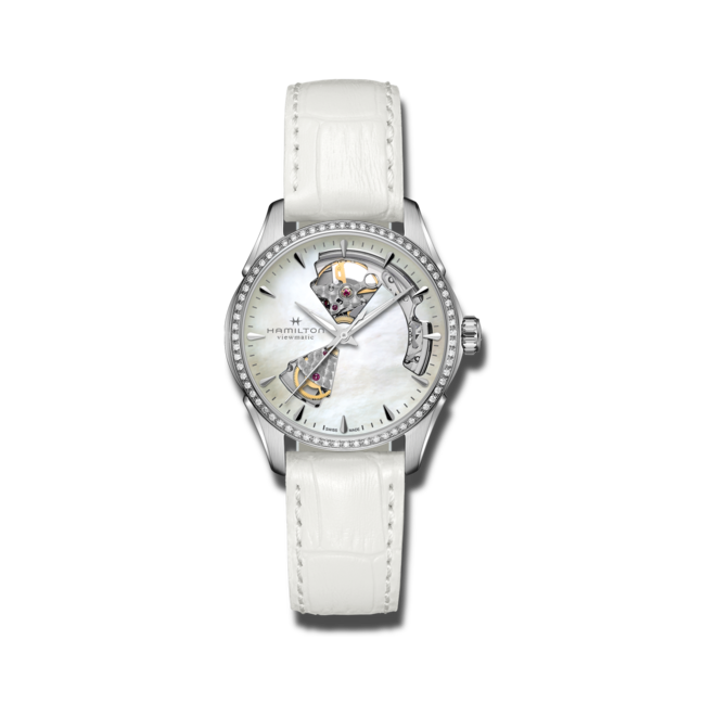 Damenuhr Hamilton Jazzmaster Open Heart Lady Automatic 36mm mit Diamanten, perlmuttfarbenem Zifferblatt und Kalbsleder-Armband bei Brogle