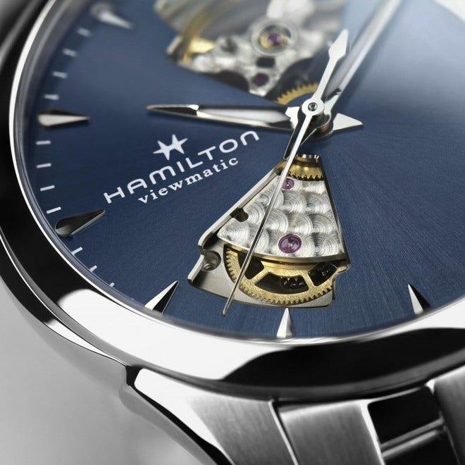 Damenuhr Hamilton Jazzmaster Open Heart Lady Automatic 36mm mit blauem Zifferblatt und Edelstahlarmband bei Brogle