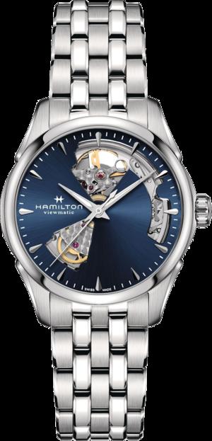 Damenuhr Hamilton Jazzmaster Open Heart Lady Automatic 36mm mit blauem Zifferblatt und Edelstahlarmband