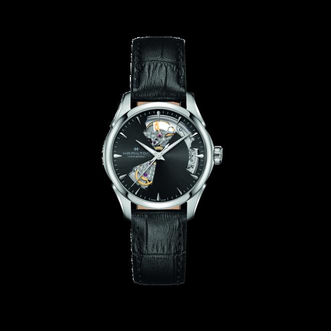 Damenuhr Hamilton Jazzmaster Open Heart Lady Automatic 36mm mit schwarzem Zifferblatt und Kalbsleder-Armband bei Brogle