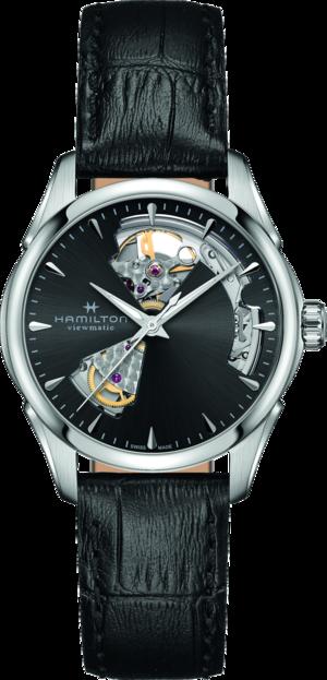 Damenuhr Hamilton Jazzmaster Open Heart Lady Automatic 36mm mit schwarzem Zifferblatt und Kalbsleder-Armband