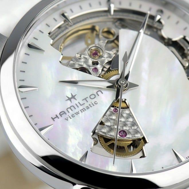 Damenuhr Hamilton Jazzmaster Open Heart Lady Automatic 36mm mit perlmuttfarbenem Zifferblatt und Kalbsleder-Armband bei Brogle